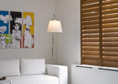 clean, modern full height wood shutters